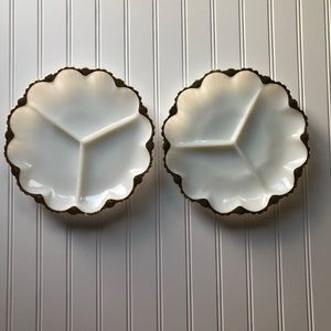 Milk Glass Relish Dish Gold Trim Set of 2 Vintage